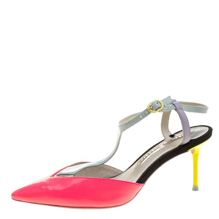 Women's Sophia Webster Multicolor Patent Leather T Straps Pointed Toe Sandals Size 36.5 For Sale