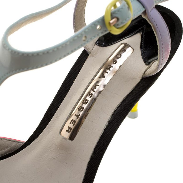 Sophia Webster Multicolor Patent Leather T Straps Pointed Toe Sandals Size 36.5 For Sale 2