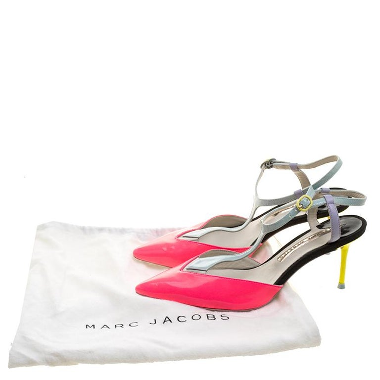 Sophia Webster Multicolor Patent Leather T Straps Pointed Toe Sandals Size 36.5 For Sale 3