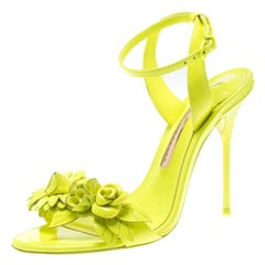 Sophia Webster Neon Green Leather Lilico Floral Ankle Wrap Sandals Size 36.5