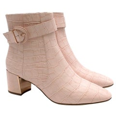 Sophia Webster Pink Croc Embossed Tutti 60 Ankle Boots 41