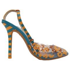 Sophia Webster Plastic Blue and Orange Striped Sandals Shoes Size 35.5