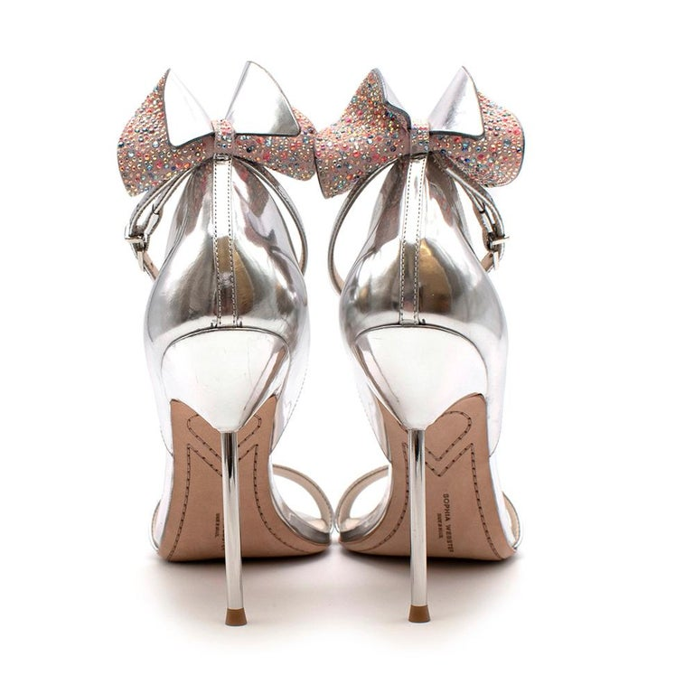 Sophia Webster Silver Leather Crystal Embellished Heels 40 In Excellent Condition For Sale In London, GB