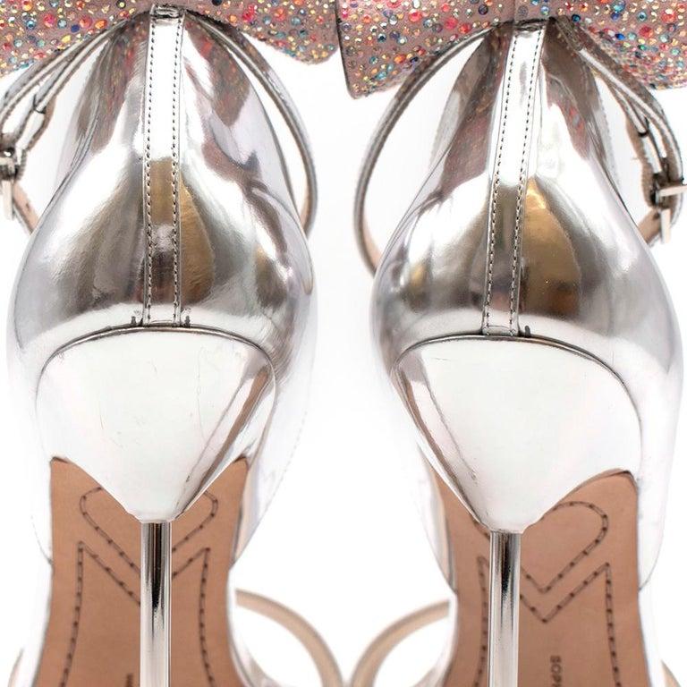 Women's or Men's Sophia Webster Silver Leather Crystal Embellished Heels 40 For Sale