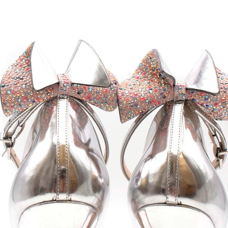 Sophia Webster Silver Leather Crystal Embellished Heels 40 For Sale 1
