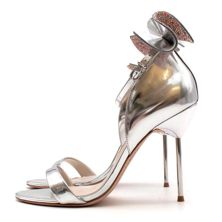 Sophia Webster Silver Leather Crystal Embellished Heels 40 For Sale 2
