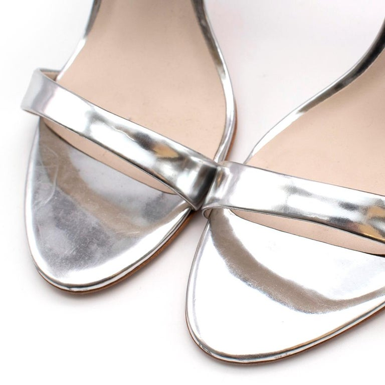 Sophia Webster Silver Leather Crystal Embellished Heels 40 For Sale 3