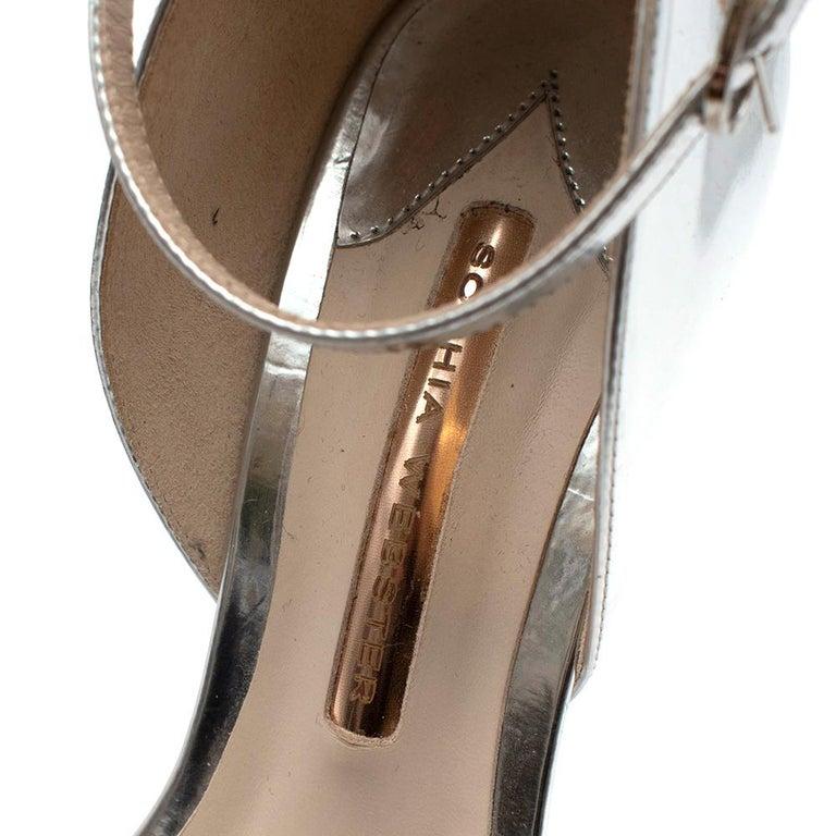 Sophia Webster Silver Leather Crystal Embellished Heels 40 For Sale 4