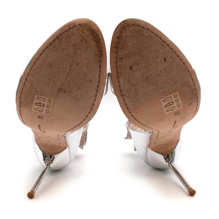Sophia Webster Silver Leather Crystal Embellished Heels 40 For Sale 5