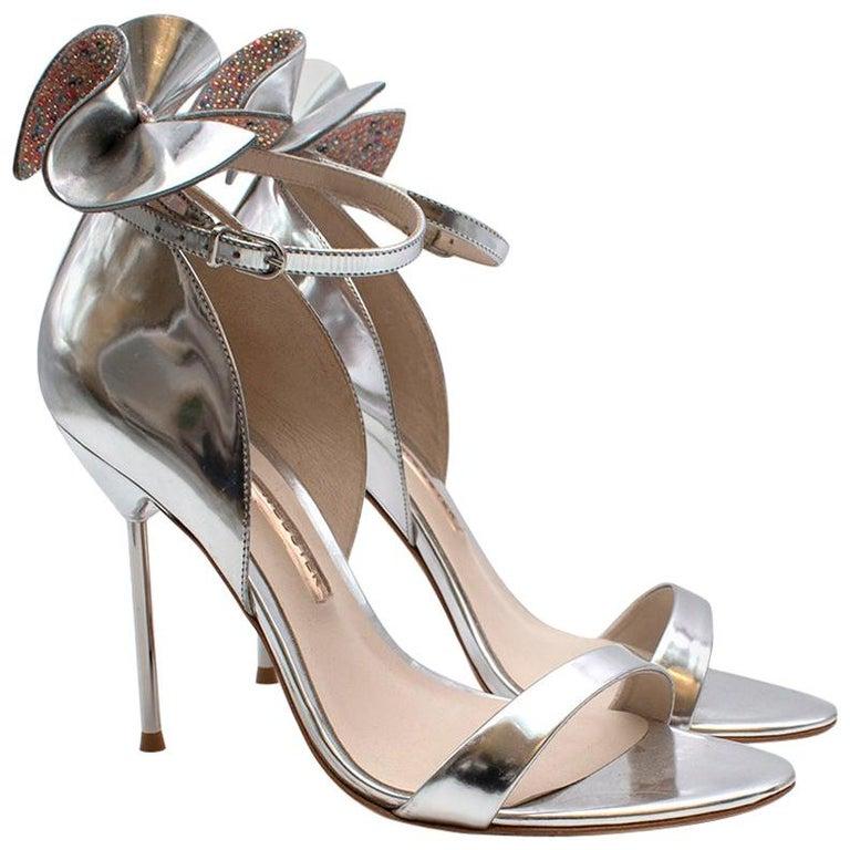 Sophia Webster Silver Leather Crystal Embellished Heels 40 For Sale