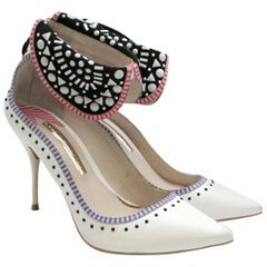 Sophia Webster White Leather Embellished Collar Strap Pumps 37.5