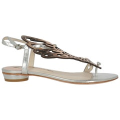 Sophia Webster Woman Sandals Silver Leather IT 36