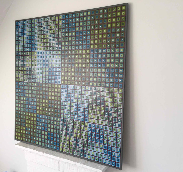 Squares Squared I: Hand-painted and Collaged Squares by Sophie Arup For Sale 9