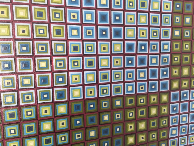 Squares Squared I: Hand-painted and Collaged Squares by Sophie Arup For Sale 10