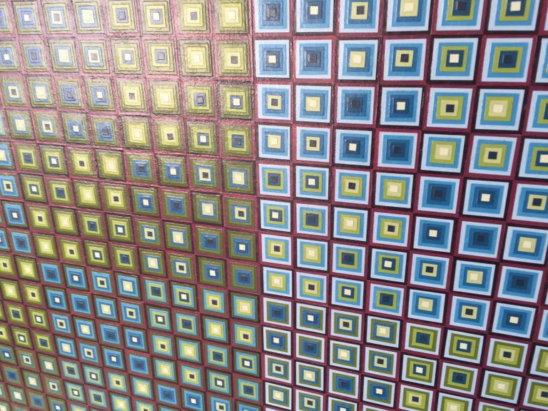 Squares Squared I: Hand-painted and Collaged Squares by Sophie Arup For Sale 11