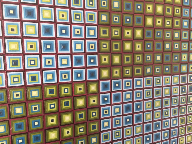 Squares Squared I: Hand-painted and Collaged Squares by Sophie Arup For Sale 12