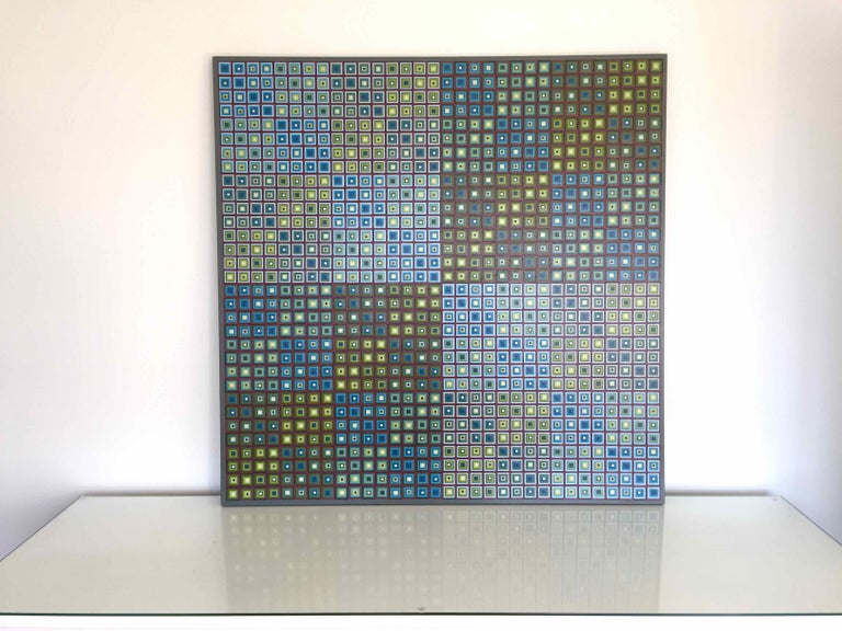 Squares Squared I: Hand-painted and Collaged Squares by Sophie Arup For Sale 1