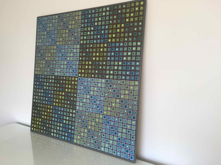 Squares Squared I: Hand-painted and Collaged Squares by Sophie Arup For Sale 2