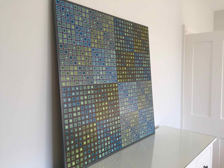 Squares Squared I: Hand-painted and Collaged Squares by Sophie Arup For Sale 3