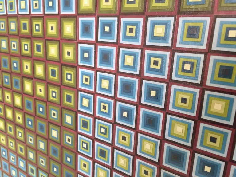 Squares Squared I: Hand-painted and Collaged Squares by Sophie Arup For Sale 6