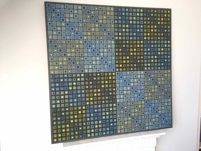 Squares Squared I: Hand-painted and Collaged Squares by Sophie Arup For Sale 8
