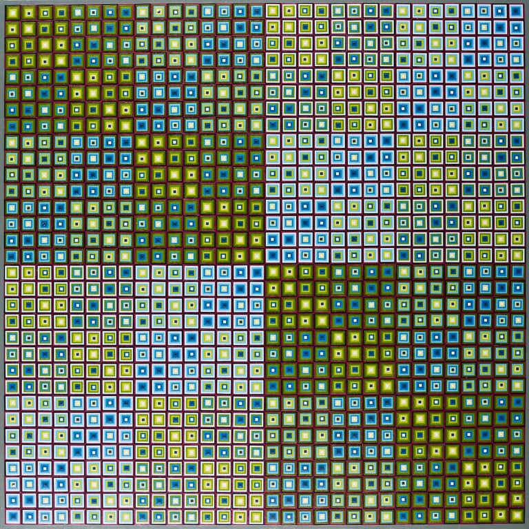 Squares Squared I, 2017, Hand-painted collage on board, 38 3/5 × 38 3/5 in, 98 × 98 cm by Sophie Arup  Beginning with one small element or process, Sophie Arup takes duplication and repetition to the extreme.  Meditative in both the making and the