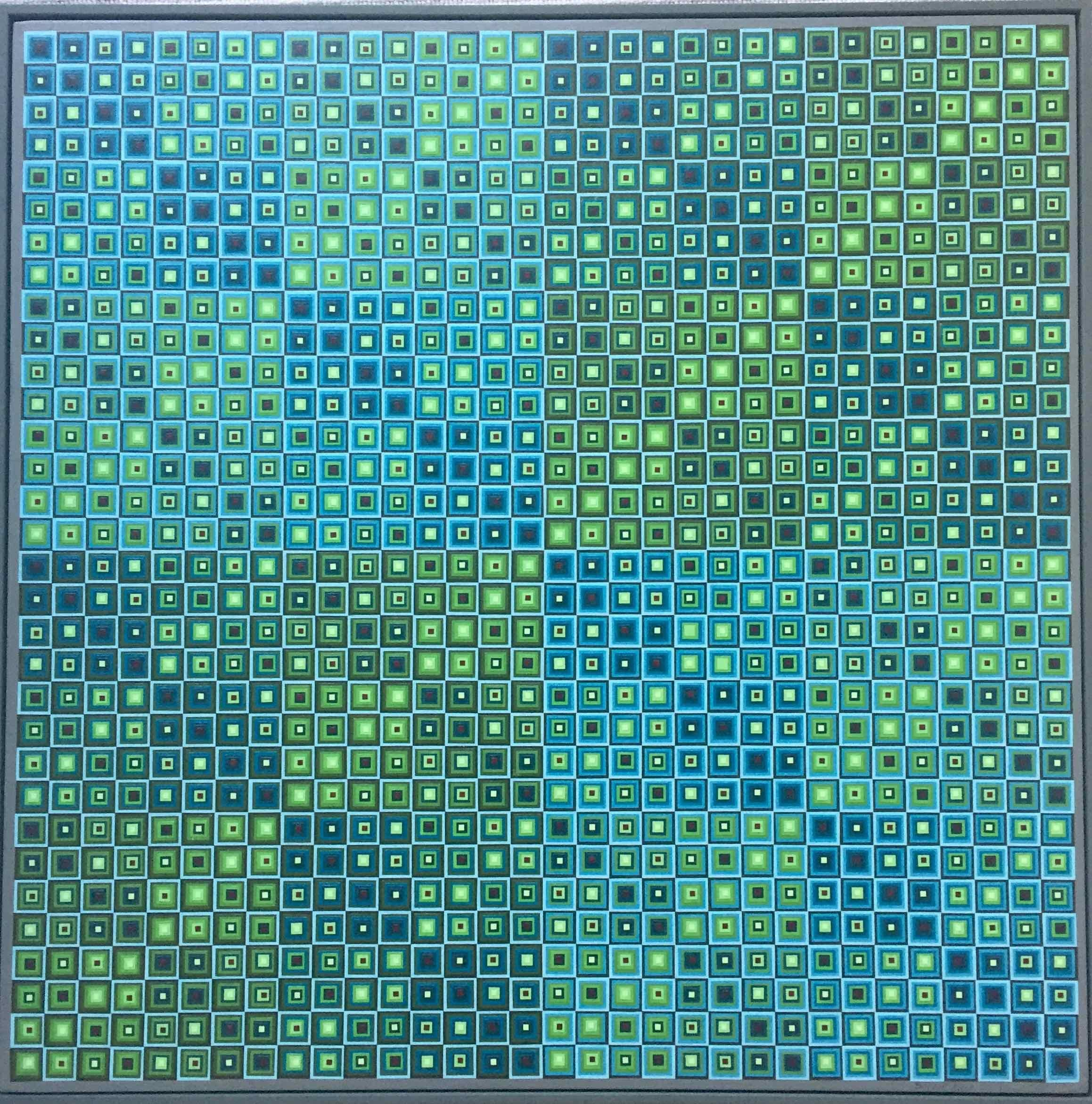 Squares Squared II: Optical Collage of Handpainted Squares by Sophie Arup