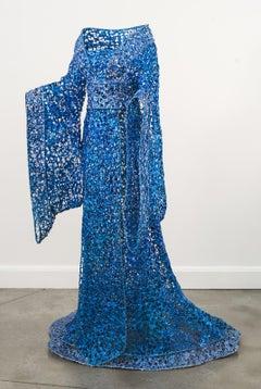 Princess - life size, blue, steel, latex, high fashion figurative sculpture