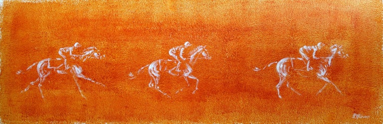Sophie Harden Animal Painting - Catch me if you can... Original Orange Painting of Horse Riders