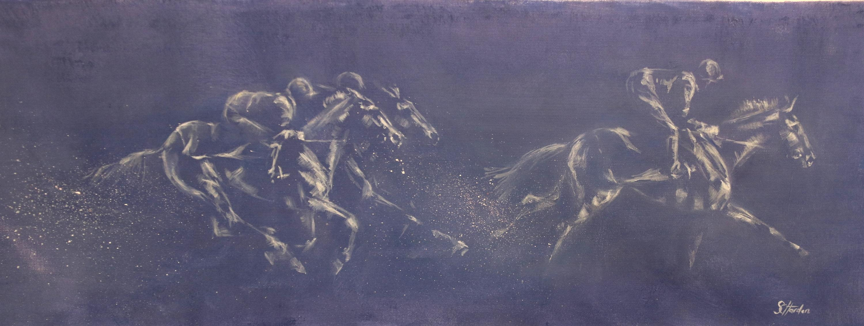 Goggles Down, Original Blue Painting of Horse Riders