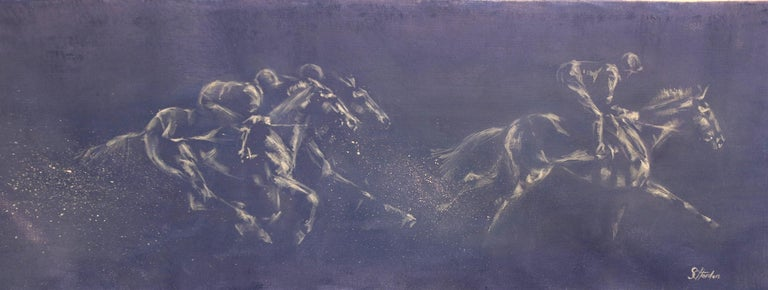 Sophie Harden Figurative Painting - Goggles Down, Original Blue Painting of Horse Riders