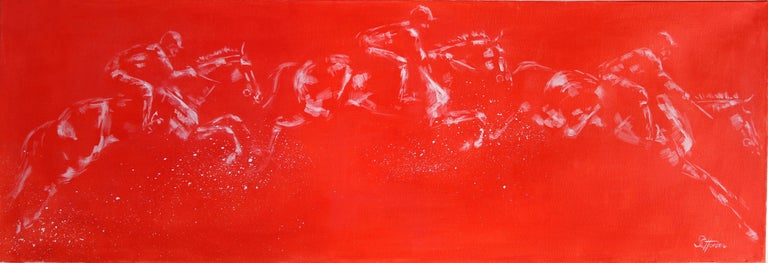 Sophie Harden Animal Painting - Schooling, Original Red Painting of Horse Riders