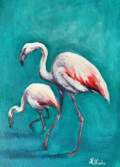 Sophie Harden, Fire Birds, Contemporary Bright Bird Art, Flamingo Painting