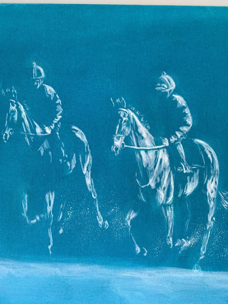 Original oil painting by Sophie Harden. Traveling really depicts the speed and motion of horses working up the gallop in pairs. Using white oil to pick out where the light hits the subject and set on a rich green/blue background, this piece really