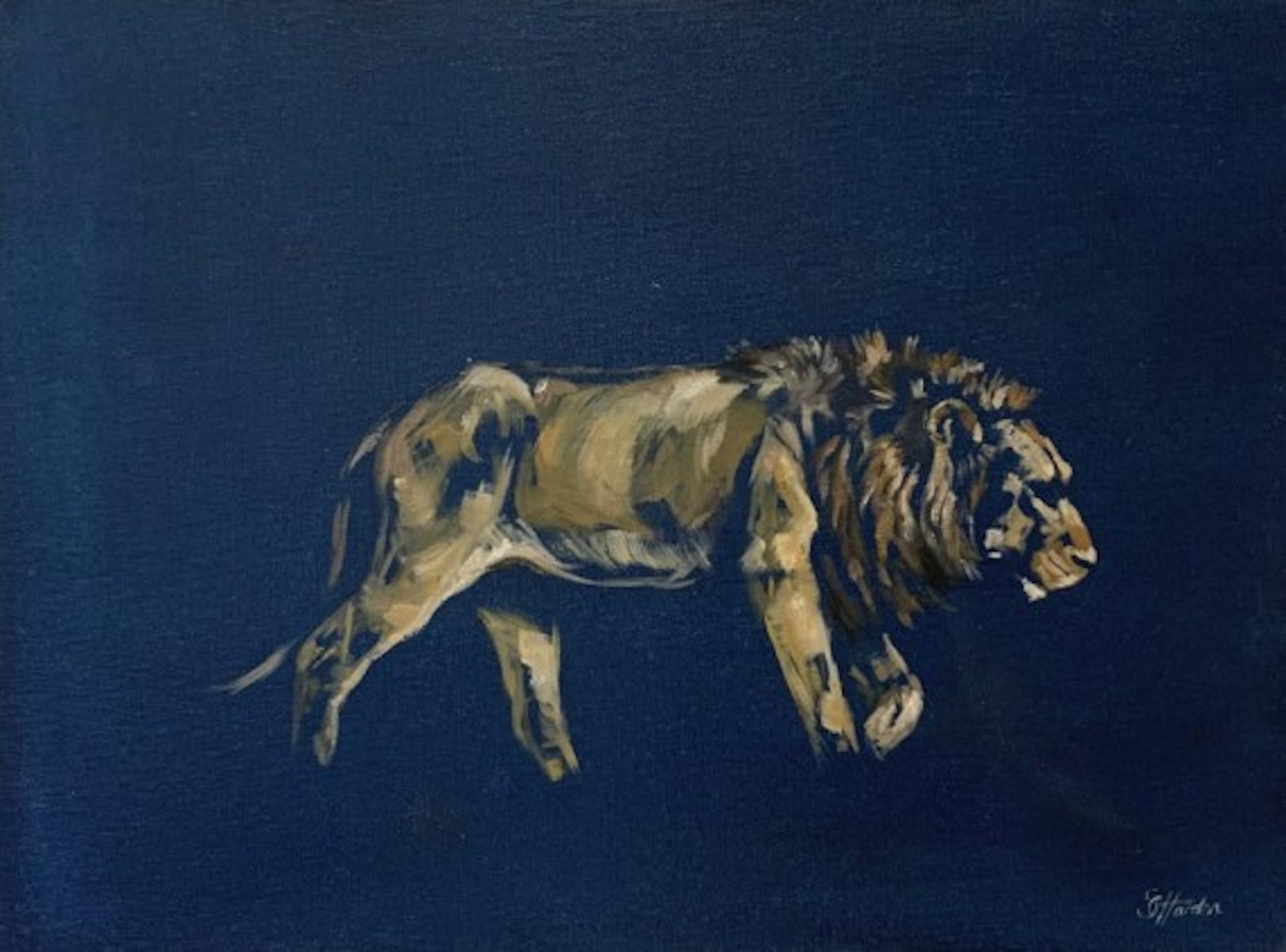 Sophie Harden, Trundling Lion, Original Animal Painting, Contemporary Art
