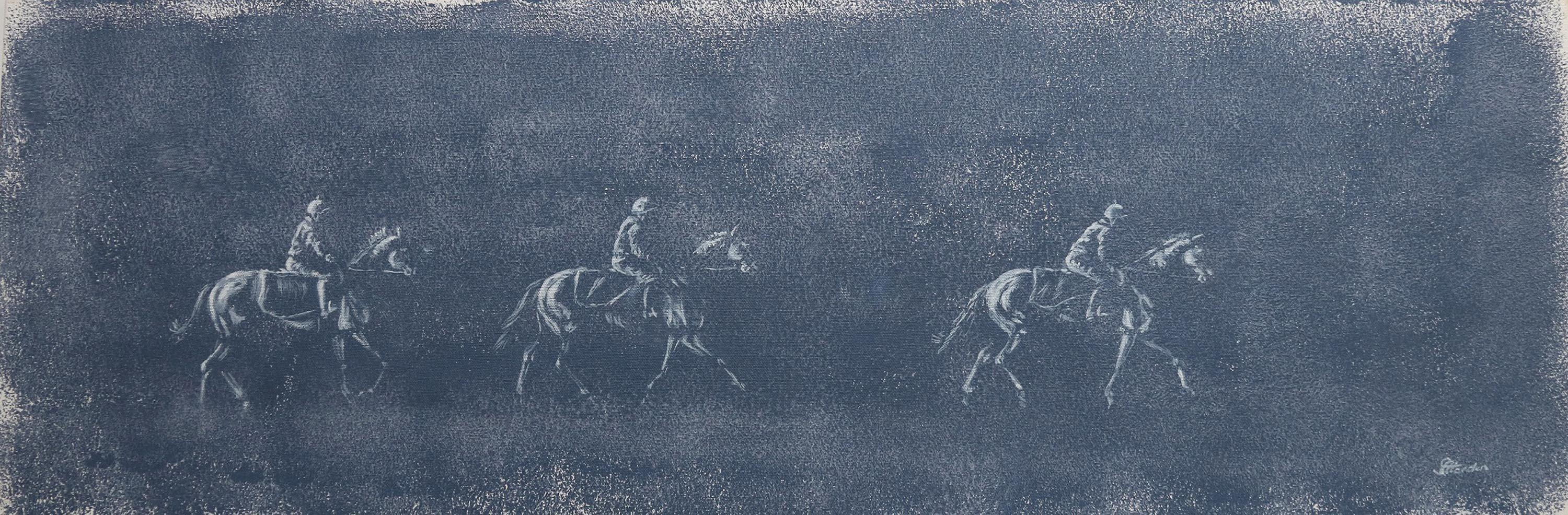 The Morning Parade, Original Blue Painting of Horse Riders
