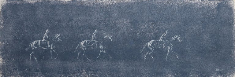 Sophie Harden Animal Painting - The Morning Parade, Original Blue Painting of Horse Riders