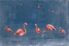Sophie Harden, Paradise, Limited edition animal print of flamingos