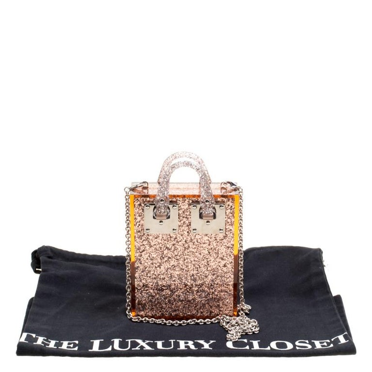 Sophie Hulme Clear Brown Glitter Perspex Compton Crossbody Bag For Sale 6