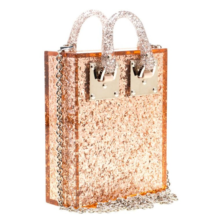 Beige Sophie Hulme Clear Brown Glitter Perspex Compton Crossbody Bag For Sale