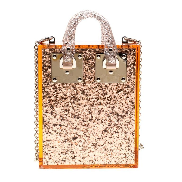 Sophie Hulme Clear Brown Glitter Perspex Compton Crossbody Bag In Good Condition For Sale In Dubai, AE