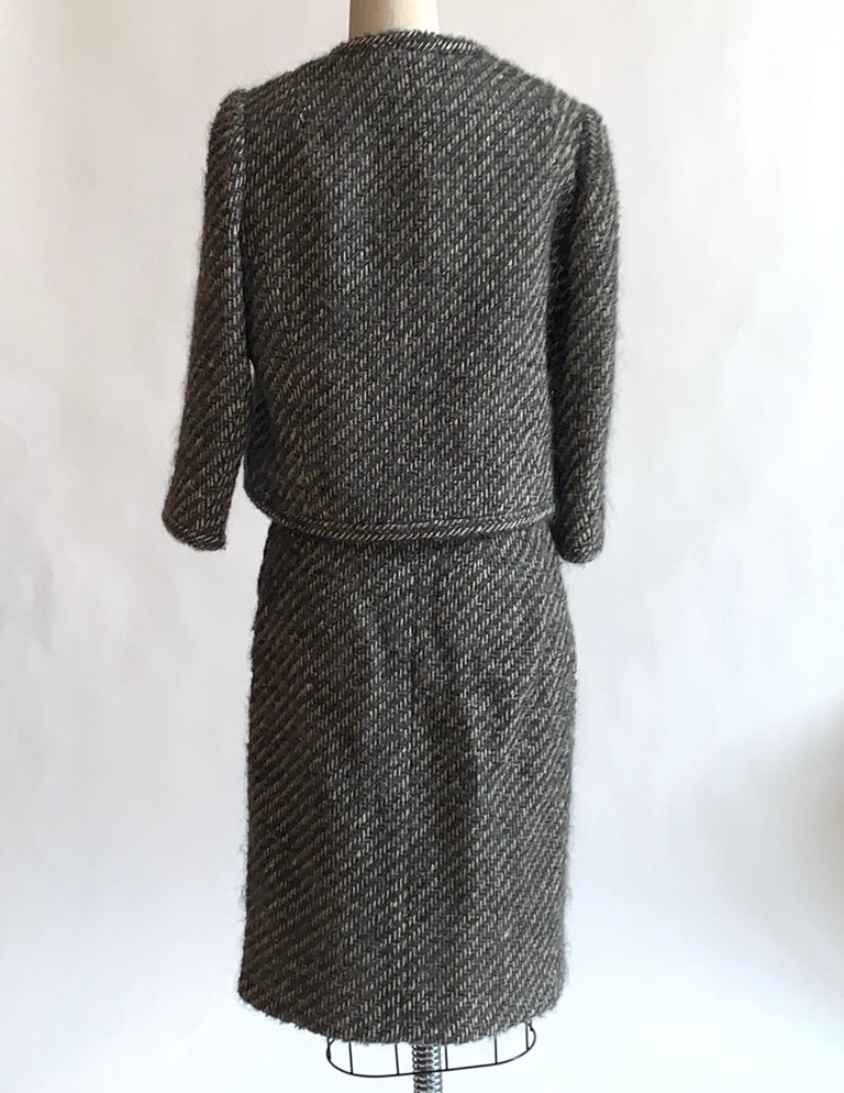 Sophie of Saks Sophie Gimbel Grey 1960s Skirt Suit in Grey and White Fuzzy Weave For Sale 1