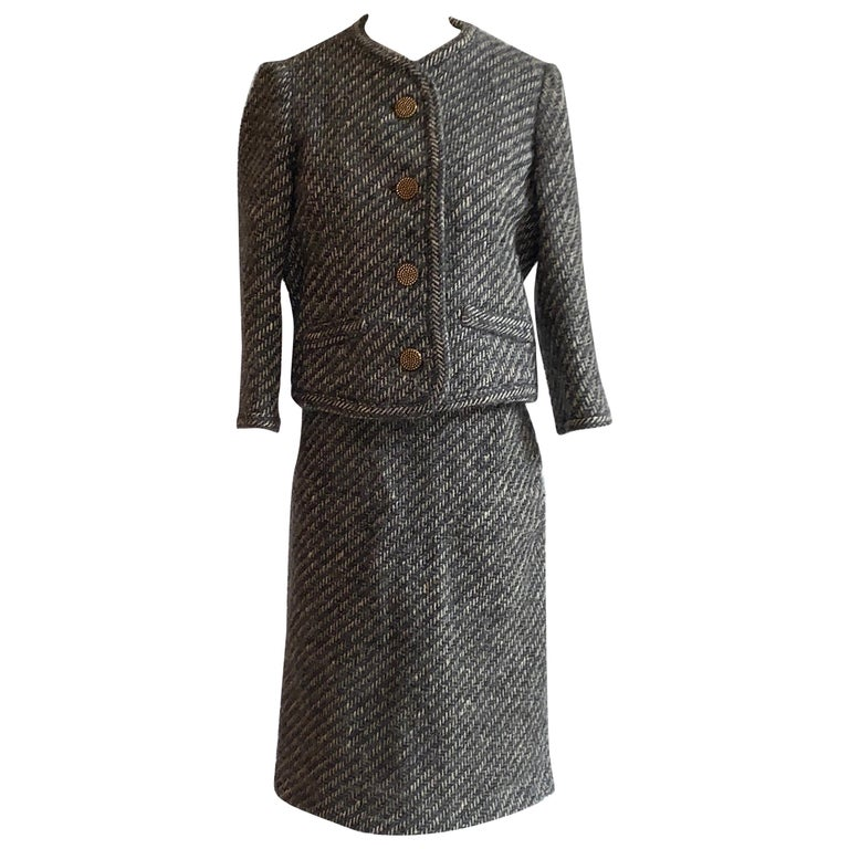Sophie of Saks Sophie Gimbel Grey 1960s Skirt Suit in Grey and White Fuzzy Weave For Sale