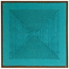 "Sophie Rowley ""Khadi Fray"" Contemporary Tapestry, Turquoise, Cotton, 2020"