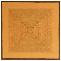 "Sophie Rowley ""Khadi Fray"" Contemporary Wall Tapestry, Deep Ochre, Cotton, 2020"