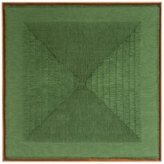 "Sophie Rowley ""Khadi Fray"" Contemporary Wall Tapestry, Green, Cotton, 2020"