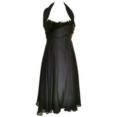 Sophie Sitbon Black Silk and Feather Dress