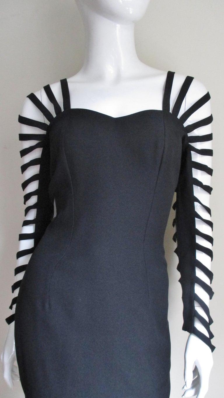 Black Sophie Sitbon Cage Sleeve Detailed Back Dress For Sale