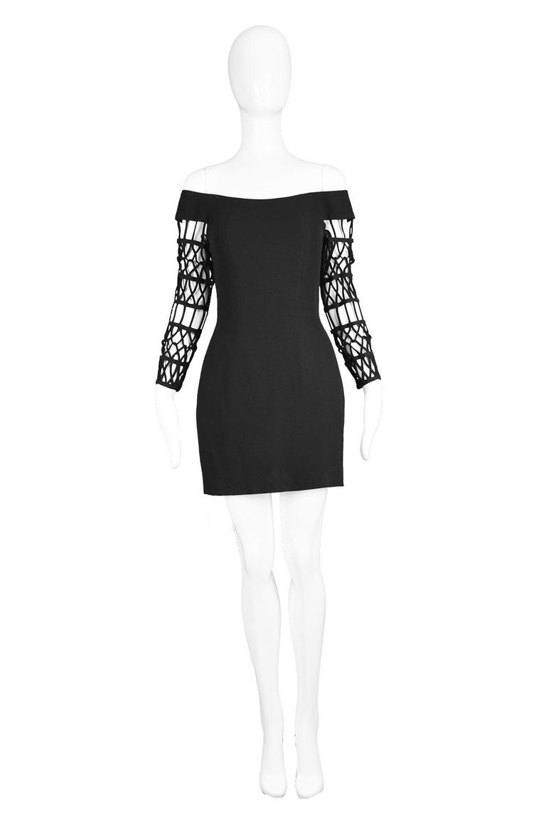 "Sophie Sitbon Black Crepe Off the Shoulder Cage Sleeve Little Black Dress, 1990s   Estimated Size: UK 8/ US 4/ EU 36. Please check all measurements & see description by clicking 'Continue Reading' below. Bust - 32"" / 81cm Waist - 26"" / 66cm Hips -"