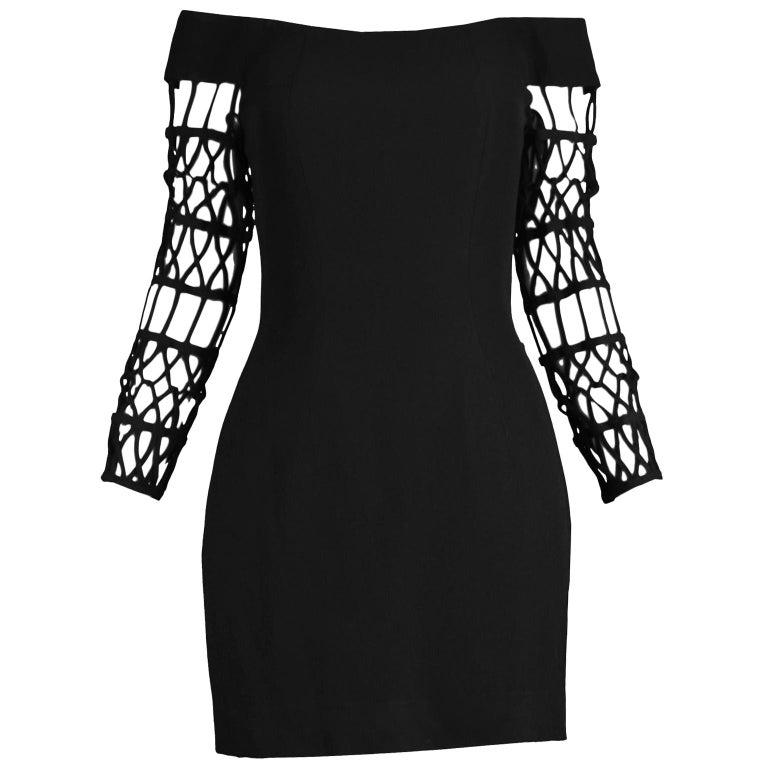 Sophie Sitbon Paris Vintage Bondage Sleeve Party Dress For Sale